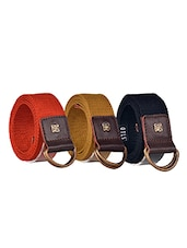 Pack Of 3 Multi Colored Canvas Belt - By