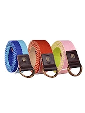 Pack Of 3 Multi Colored Canvas Belt - By - 12890445