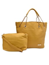 Mustard Faux Leather Tote With Matching Sling Bag - By