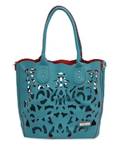 Teal Cut-work Detailed Handbag With Sling Bag - By
