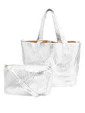 Textured Silver Faux Leather Tote With Sling  Bag - By