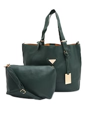 Bottle Green Faux Leather Tote With Sling Bag - By