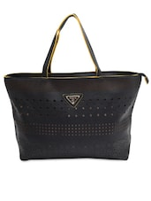 Black Cut-work Detailed Handbag With Sling Bag - By