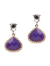 Purple Stone Drop Dangler Earrings - By