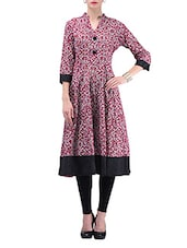 Maroon And White Printed Cotton Anarkali Kurti - By