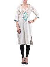 Off White Embroidered Khadi Cotton Kurti - By