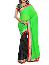 Green With Black Chiffon Saree With Blouse Piece - By