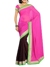 Pink Chiffon Saree With Blouse Piece - By