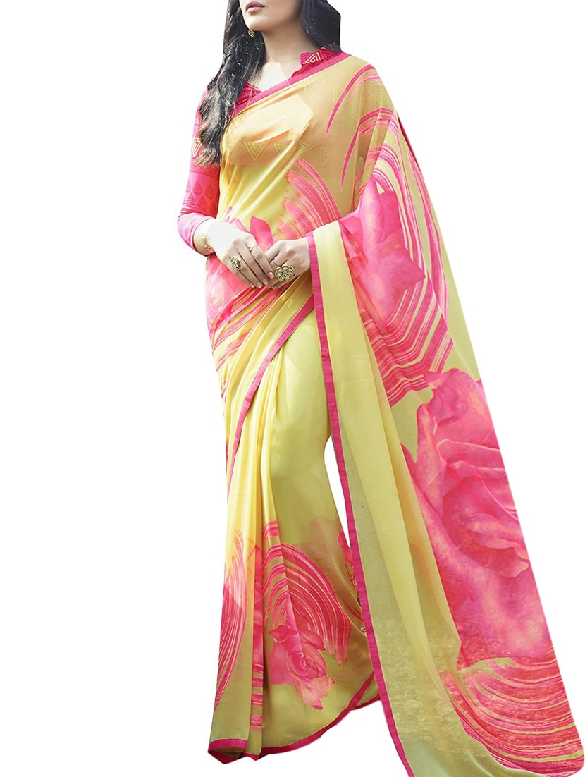 499626b85c9 Buy Yellow Georgette Printed Saree With Blouse for Women from Shaily for  ₹900 at 82% off
