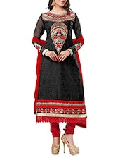 Black Hampty Dumpty Embroidered Georgette Suit - By