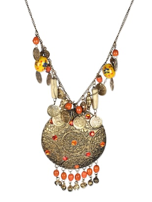 orange metal tribal necklace -  online shopping for Necklaces