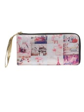 Off White Printed Poly Satin Wallet - By