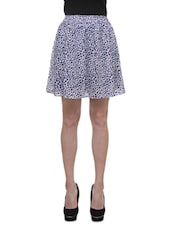 White And Navy Blue Poly Georgette Polka Dots Print Skirt - By