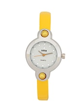 YELLOW LEATHER STRAP ROUND ANALOG WATCH -  online shopping for Analog watches