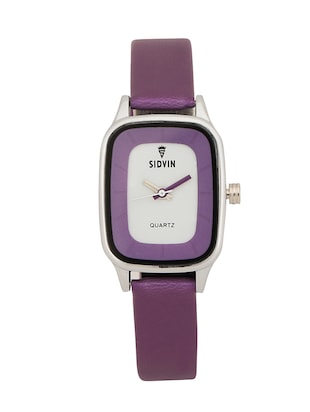 PURPLE LEATHER STRAP RECTANGLE ANALOG WATCH -  online shopping for Analog watches