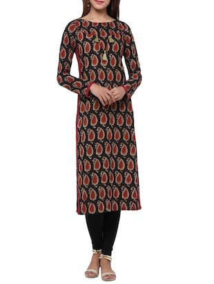 black cotton paisley print kurta -  online shopping for kurtas