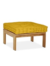 Lushomes Yellow Comfy Cotton Box Cushion With 5 Knots & A Handle For Convenience - By