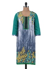 Green Poly Georgette Printed And Embroidered Kurti - By
