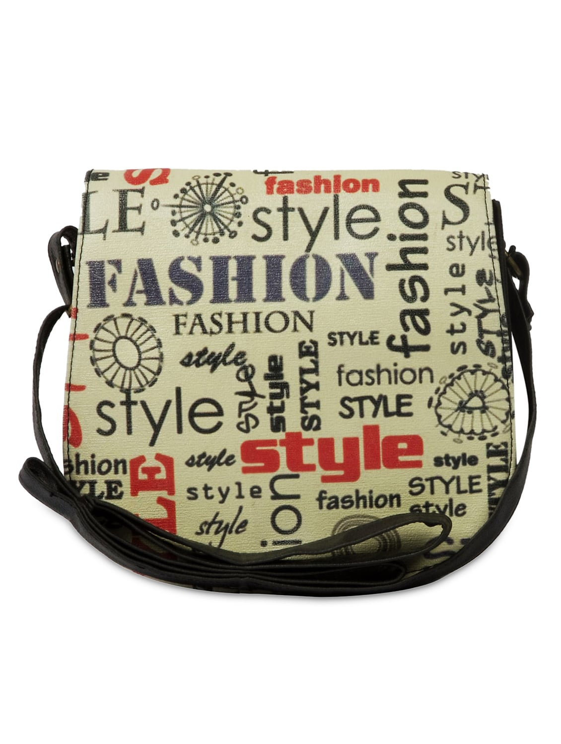 Off White Printed Leatherette Saddle Bag - By