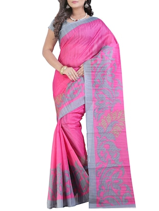 off on Pink Linen Printed Saree