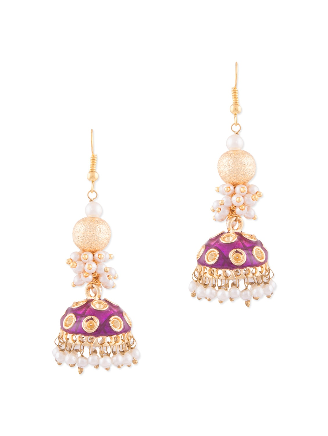 Neon White Metallic Jhumka Earrings By Kij Jewels Online Ping For In India 1292701