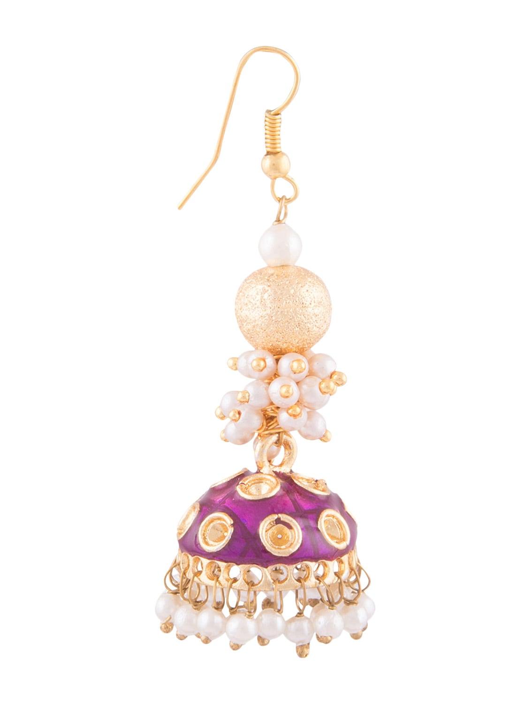 Neon White Metallic Jhumka Earrings By Kij Jewels Online Ping For In India 1292701
