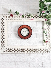 Multicolored Wooden Embossed Painting Wall Clock - By