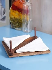 Brown Wooden Engraved Brown Tissue And Tooth Pick Holder - By