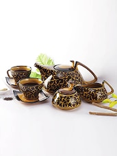 Brown Ceramic Mughal Hand Painted Tea Set - By