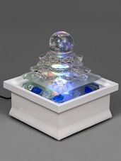 Transparent Glass Fountain With White Ceramic Base - By