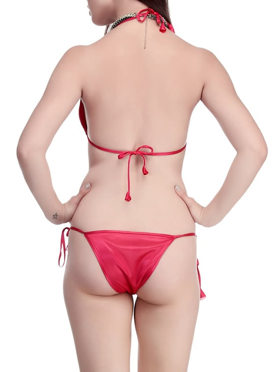 94b7a5e0c1bd4 Buy Pink Satin Bras And Panty Set by Belle Nuits - Online shopping for Bras  And Panty Set in India