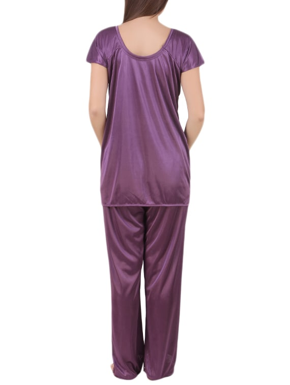 e0973a44a22c Buy Purple Satin Pajama Set And Maroon Bikini Combo by Afw - Online  shopping for Nightwear Sets in India