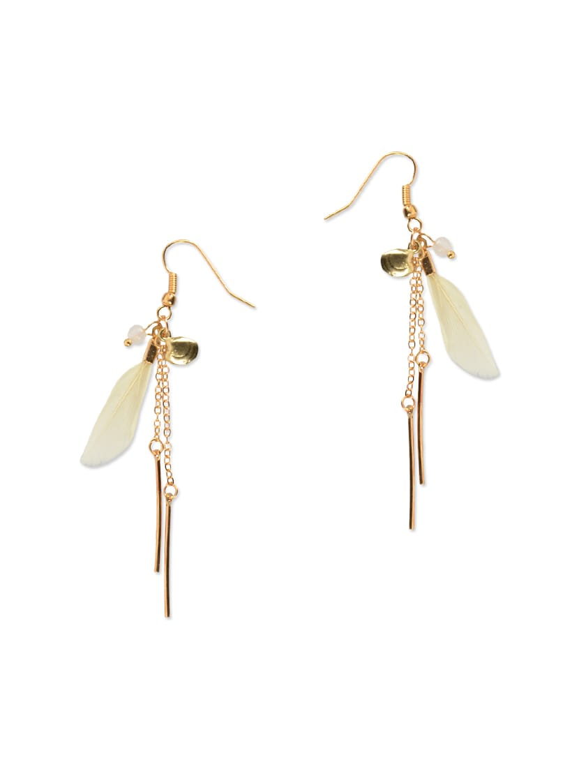 Gold And Cream Feather Trim Drop Earrings By Diva Walk Online Ping For In India 12942733