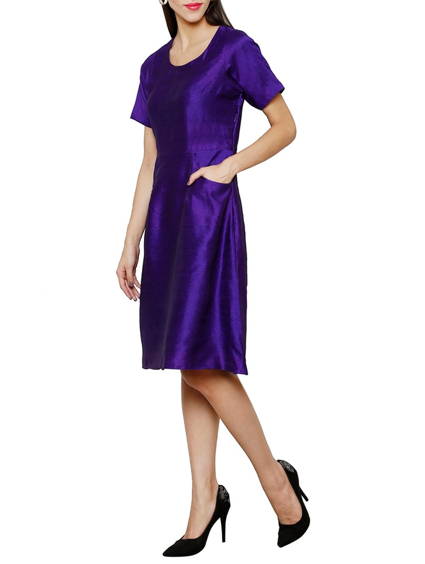 6de9b11d8168 Buy Purple Cotton A-line Dress by Gunasutra - Online shopping for Dresses  in India