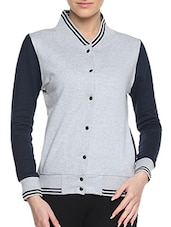 Grey Cotton Solid Long Sleeves Varsity Jacket - By