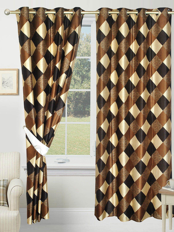 brown polyester printed eyelet door curtain
