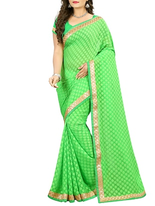 green cotton blend woven saree with blouse -  online shopping for Sarees