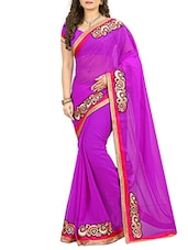 purple chiffon patch work embroidered saree with blouse -  online shopping for Sarees
