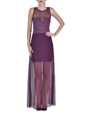 Purple Polyester And Spandex Sleeveless Short Dress With Floor Length Sheer Overlay - By