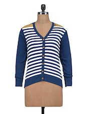 Navy And White Striped Woolen Cardigan - By