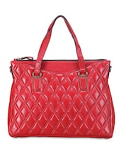 Solid Red Quilted Leather Handbag - By