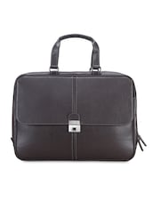 Textured Dark Brown Leather Laptop Bag - By