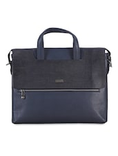 Textured Navy Blue Leather Laptop Bag - By