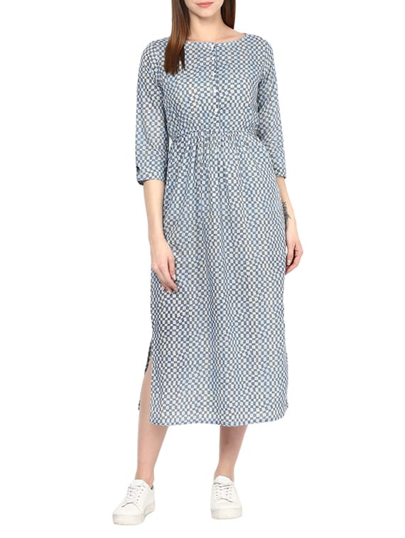 Buy Blue Cotton Midi Dress by Jaipurkurti - Online shopping for Dresses in  India  d547c8ebe5c3