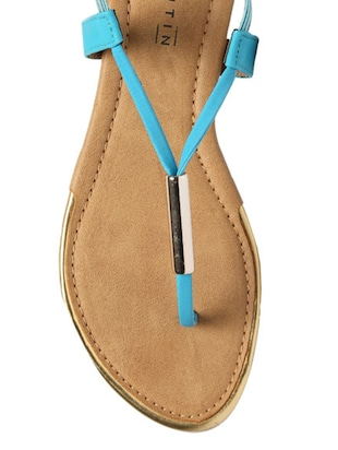 blue leatherette back strap sandals - 12954460 - Standard Image - 4