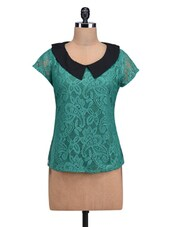 Teal Poly-Lace Top With Peter Pan Collar - By