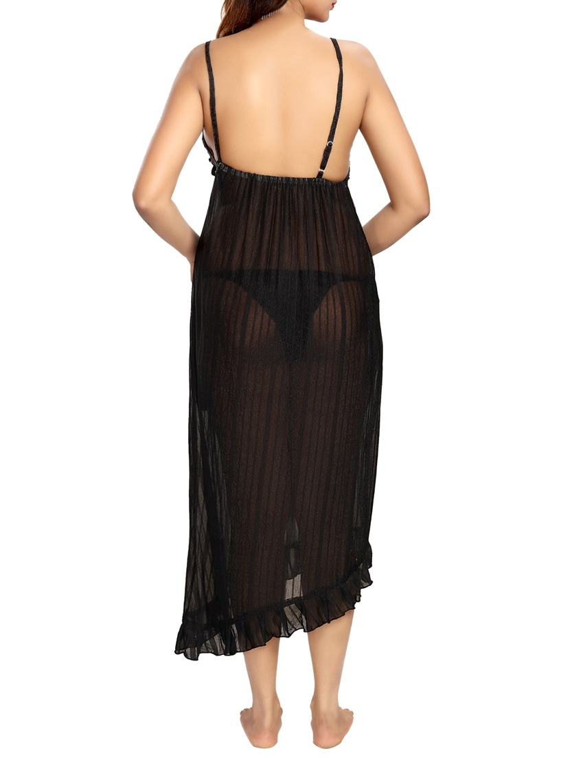 aff3e5bdb2 Buy Black Solid Maxi Nighty by Be You - Online shopping for Sleepshirts    Nighties in India