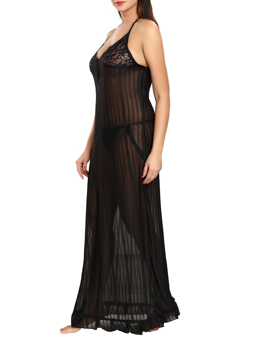 b5a0c012db Buy Black Maxi Sleepwear Nighty by Be You - Online shopping for Sleepshirts    Nighties in India