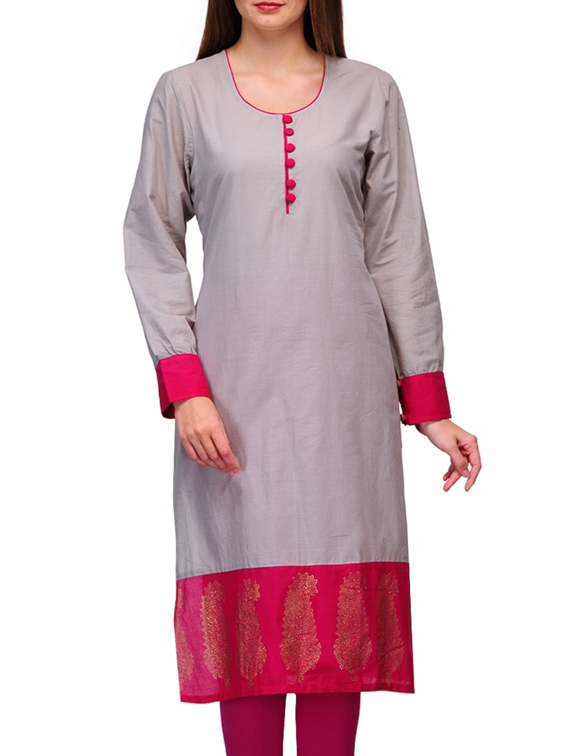 c00f470189c Buy Grey Cotton Printed Round Neck Kurta for Women from Tulsattva for ₹496  at 50% off