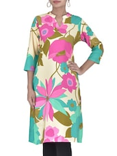Off White Floral Printed Poly Crepe Kurti - By